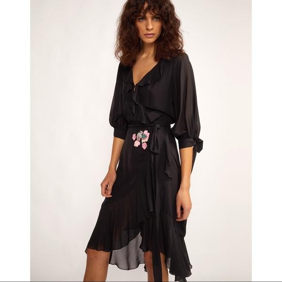 Cynthia Steffe Dresses & Skirts - Cynthia Rowley Genevieve Black Ruffle Wrap Dress